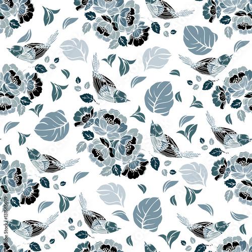 bezszwowy-wielostrzalowy-wzor-z-ptakami-i-kwiatami-wektor