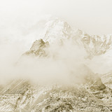 The himalayan peak near Mount Everest in the fog - Nepal, Himalayas (stylized retro) - 131568074