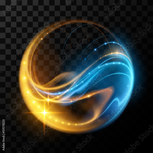 Obraz Abstract glowing lines in sphere - fototapety do salonu