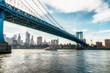 Brooklyn Bridge in New York City at sunset. Vivid splittoned image.