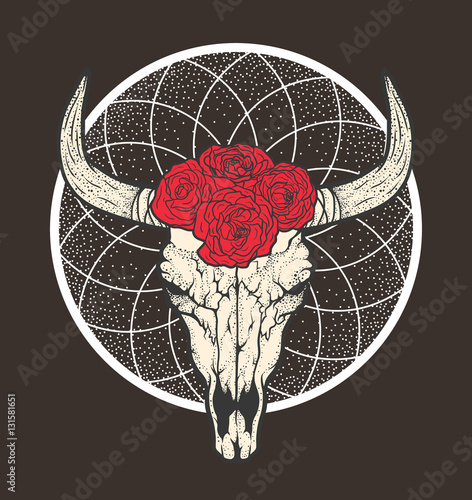 Bull Skull With Roses Native Americans Tribal Style Tattoo