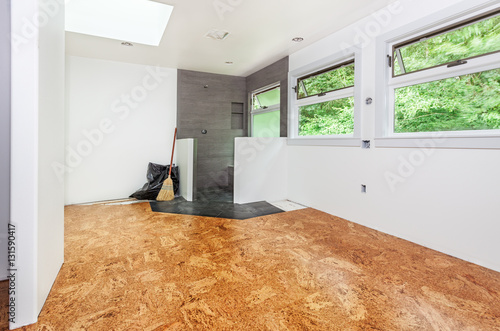 Cork Tile Floor Installed And Swept