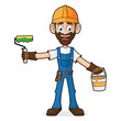 Handyman Holding Paint And Paint Roller