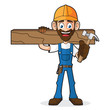 Handyman Holding Hammer and Wood Plank