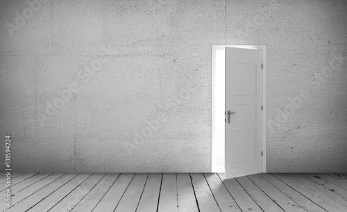 Fényképezés  Open white door in a empty white room. 3D illustration