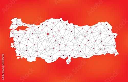 turkey network map, polygonal turkey map, geometric turkey ...