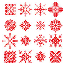 Vector Snowflake In Embroidery Russian Style