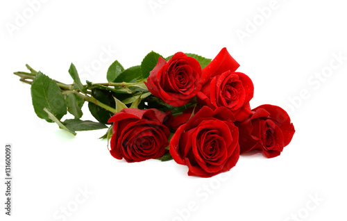 Fotografie, Obraz  red rose bouquet isolated on white background