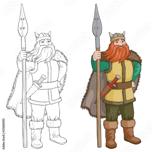 Black and White Cartoon Vector Illustration of Viking or Knight ...