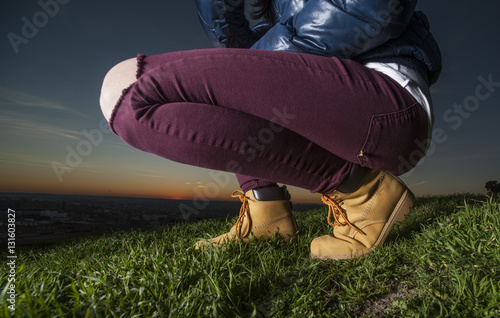Leather boots on a woman's feet