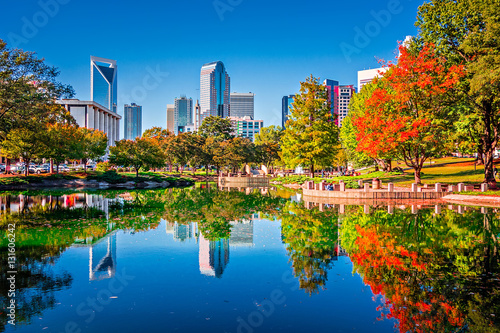 charlotte city skyline from marshall park autumn season with blu Wallpaper Mural