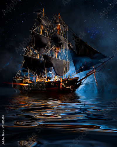 Foto op Canvas Schip Model Pirate Ship with fog and water