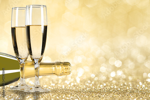champagne new year golden background