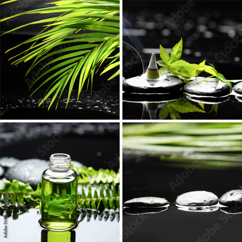 Poster Spa Spa still with palm with lotion,,fern,ivy, incense