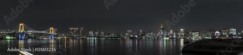Spoed Foto op Canvas Grijze traf. 東京湾の夜景(豊洲からの風景)
