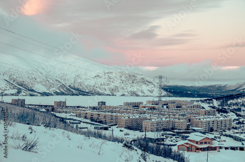 winter city in the mountains Canvas Print