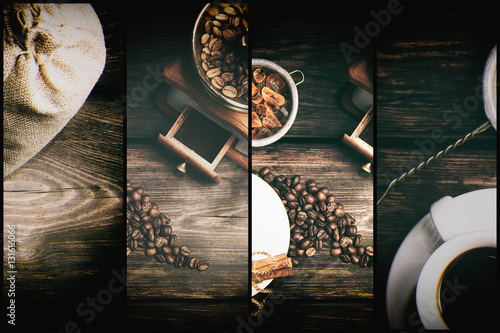 Wall Murals Cafe Taste cup of coffee with roasted grains (Cup of black coffee, fried coffee grains, coffee grinder and caramelized sugar)