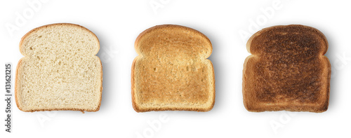 Set of three slices toast bread isolated on white Wallpaper Mural