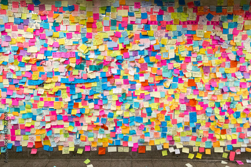 Photo  Sticky post-it notes in NYC subway station