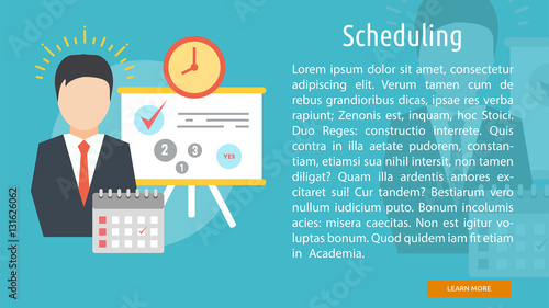 Scheduling Conceptual Banner - Buy this stock vector and explore