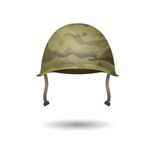 Military Modern Helmet With Camouflage Patterns. Vector Illustration.