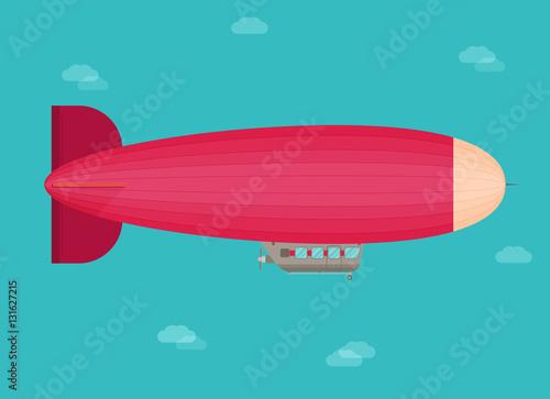 Zeppelin airship dirigible balloon flight, flat design Canvas Print