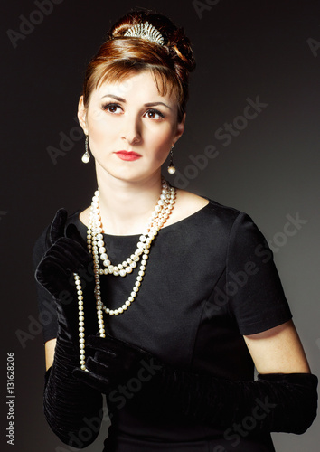 Fotografie, Tablou  vintage  Portrait of a beautiful young elegant woman.