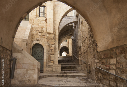 Israel - Jerusalem - Old city hidden passageway, stone stairway and arch