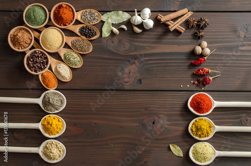 Various colorful spices decoration on wooden table - Top view Canvas Print