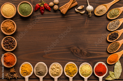 Foto op Plexiglas Kruiden Indian spices and dried herbs background- Top view