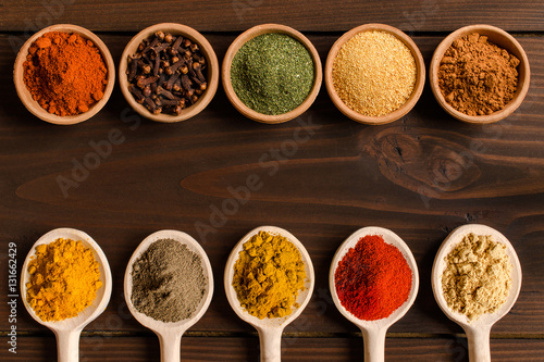 Colorful spices background - Top view Canvas Print