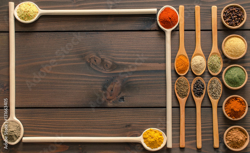 Photo  Colorful dried spices decoration - Top view