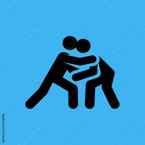 Fotografie, Obraz  judokas icon. flat design