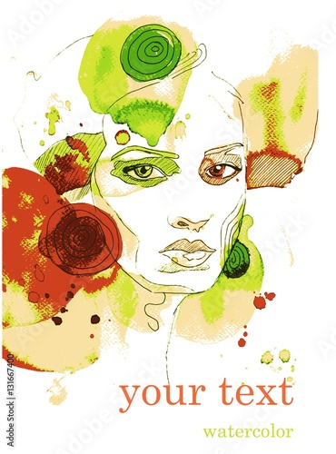 Papiers peints Inspiration painterly Vector illustration watercolor. Abstract illustration depicting a portrait of a woman.