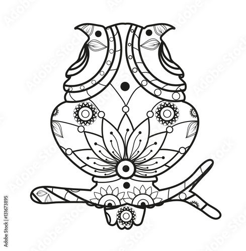 Vector illustration of a mandala owl for coloring book ...