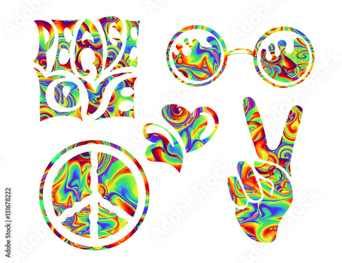 Foto  hippie symbols two fingers as a sign of victory, a sign of Pacific and letterin love and peace