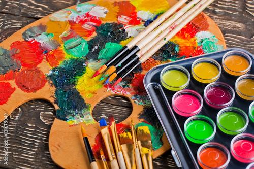 Fototapeta Paints and brushes obraz na płótnie