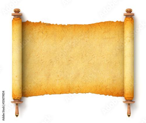 Torah unfurled with wooden handles © kharlamova_lv