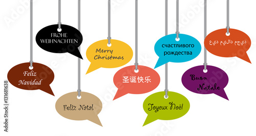 Merry Christmas Greeting Card With Bubbles Different Languages