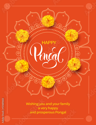 Greeting card with flowers and rangoli for tradition indian festival greeting card with flowers and rangoli for tradition indian festival pongal makar sankranti background m4hsunfo