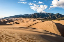 Sunset View Of Sand Waves At The Top Of Great Sand Dunes, Great Sand Dunes National Park & Preserve, Colorado, USA.