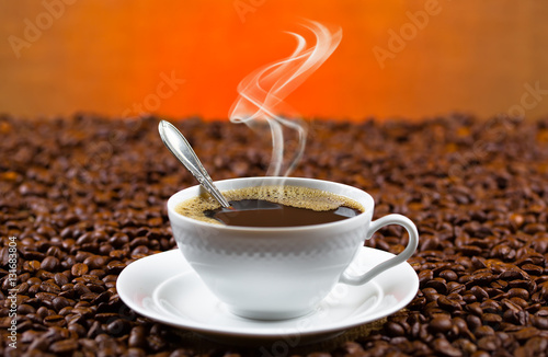 Photo Stands Coffee bar Black coffee on old background