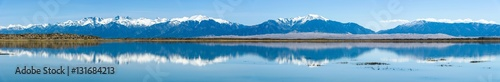 Poster Bergen Panoramic view of Sangre de Cristo Range and Great Sand Dunes, looking from San Luis Lake, Colorado, USA.