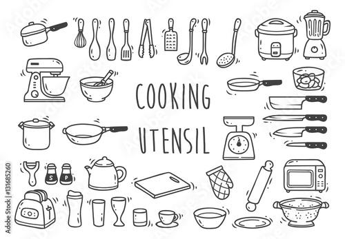 Fototapeta Set of kitchen utensil doodle