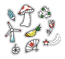 Set Of Cute Cartoon Patches