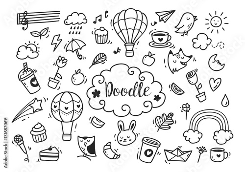 Obraz Set of cute hand drawn doodle - fototapety do salonu