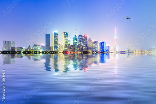 Foto op Aluminium New York Shanghai skyline and modern cityscape at night,China