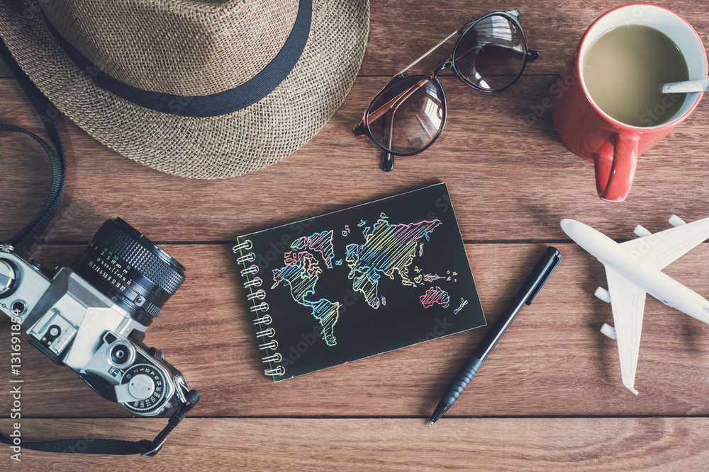Fototapety, obrazy: Traveler's accessories and items with black notebook and copy sp
