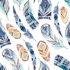 FototapetaWatercolor ethnic feathers seamless pattern