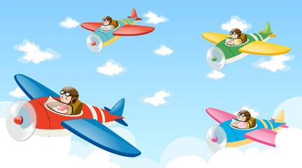 Fototapeta Scene with four pilots flying plane